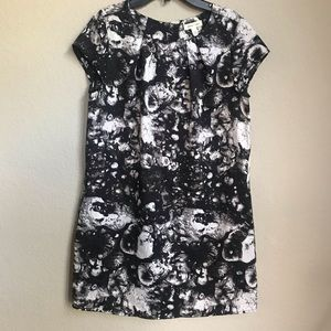 Silence + Noise Black & White Print Shift Dress